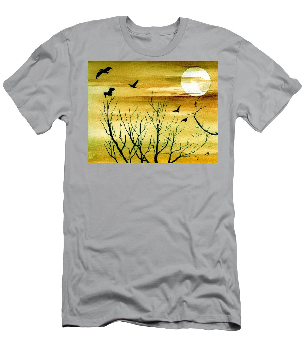 Landscape Watercolor Birds Ravens Crows Trees Sun Sunset Sky Clouds Men's T-Shirt (Athletic Fit) featuring the painting Homeward by Brenda Owen
