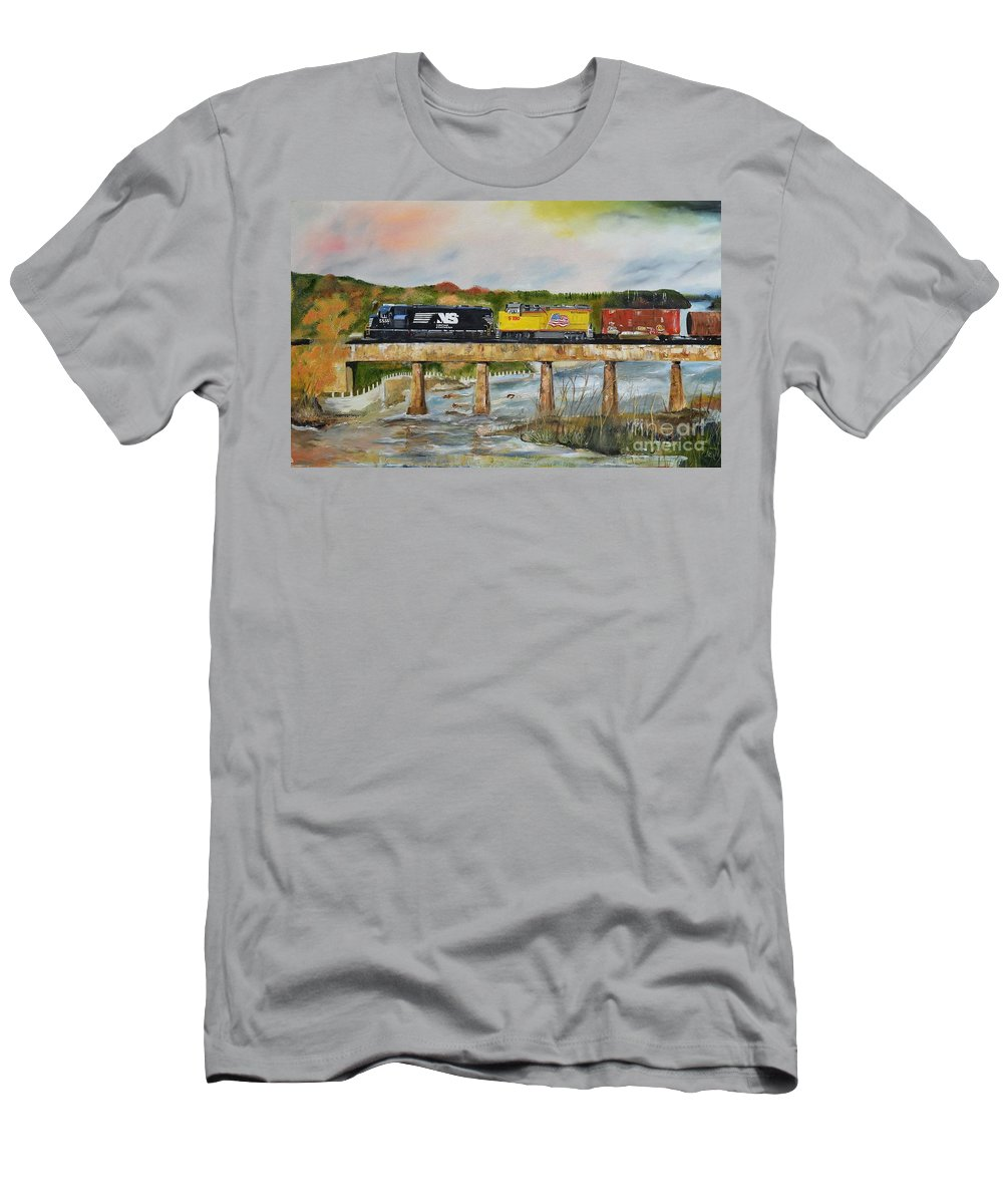 Norfolk Southern Men's T-Shirt (Athletic Fit) featuring the painting Hooch - Chattahoochee River - Columbus Ga by Jan Dappen
