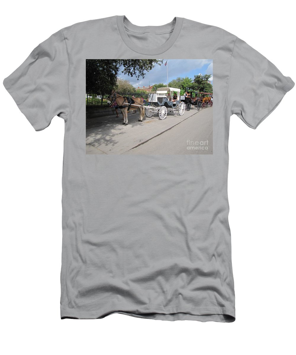 Buggy Rides Men's T-Shirt (Athletic Fit) featuring the photograph Horse And Buggy by Michelle Powell