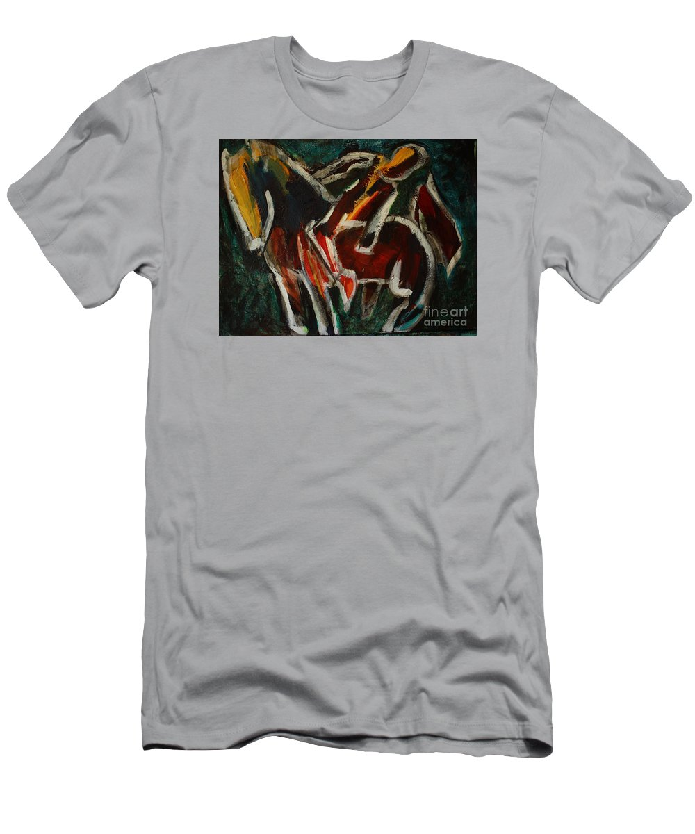 Intuitive Painting Men's T-Shirt (Athletic Fit) featuring the painting Horse And Man by Uwe Hoche
