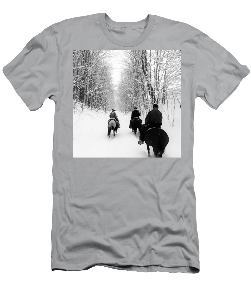 Horses Men's T-Shirt (Athletic Fit) featuring the photograph Horse Back Riding by Christina McNee-Geiger