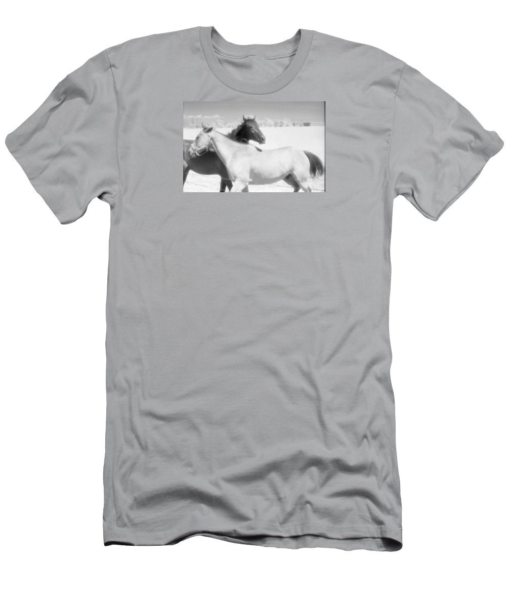 Black And White Men's T-Shirt (Athletic Fit) featuring the photograph Horse Friends by Lyle Crump