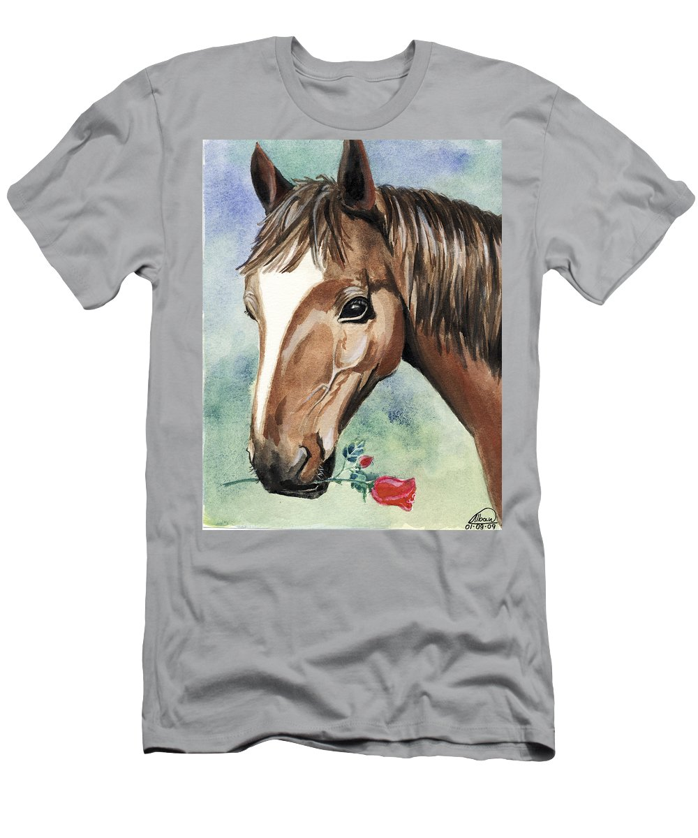 Horse Men's T-Shirt (Athletic Fit) featuring the painting Horse In Love by Alban Dizdari