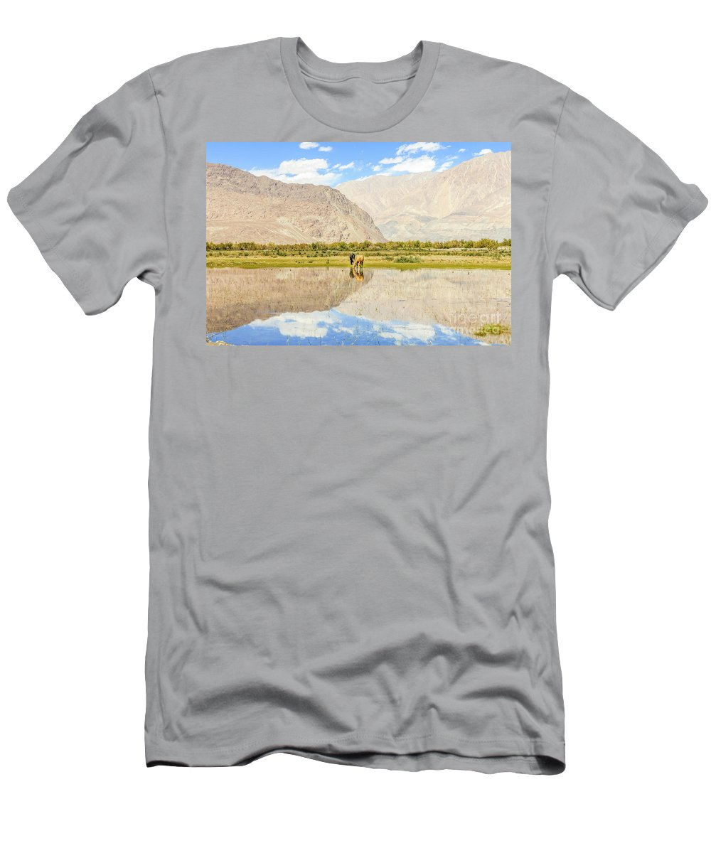 Kashmir Men's T-Shirt (Athletic Fit) featuring the photograph Horse On Lake by Aoshi VN
