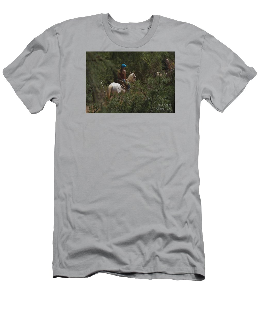 Horseback Men's T-Shirt (Athletic Fit) featuring the photograph Horseback Riding Kauai Trail by Loriannah Hespe