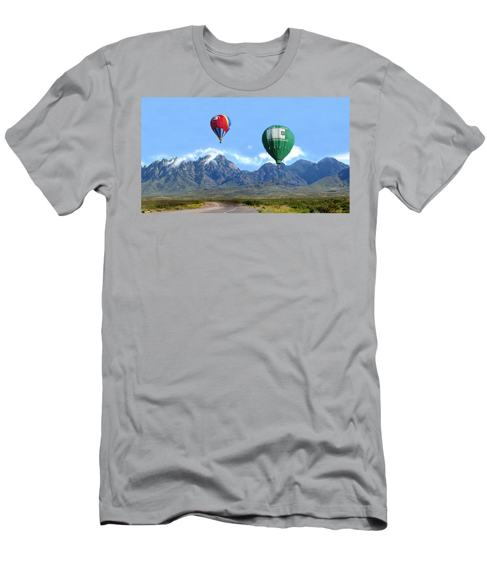 Organ Mountains-desert Peaks National Monument T-Shirt featuring the photograph Hot air over the Organ Mountains by Jack Pumphrey