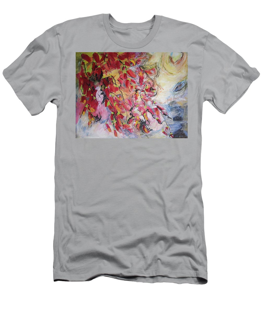 Hot Pepper Painting Men's T-Shirt (Athletic Fit) featuring the painting Hot Pepper Drying by Seon-Jeong Kim