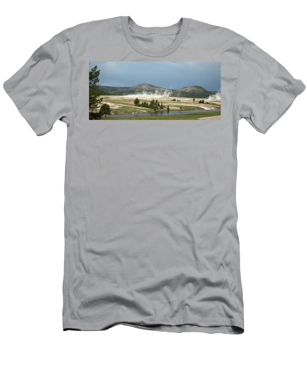Geyser Men's T-Shirt (Athletic Fit) featuring the photograph Hot Time by Linda Kerkau