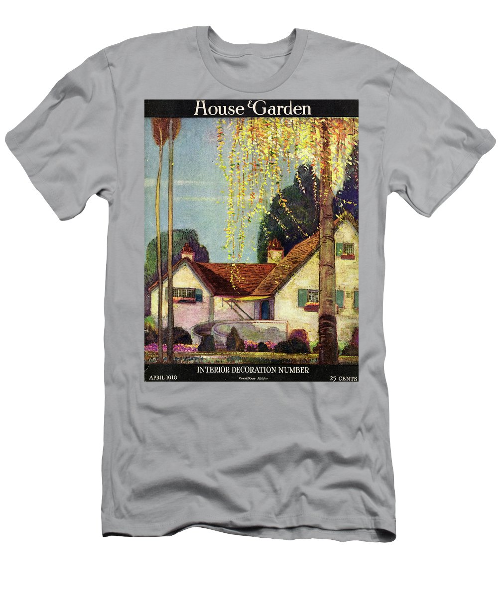 House And Garden Men's T-Shirt (Athletic Fit) featuring the photograph House And Garden Interior Decoration Number Cover by Porter Woodruff