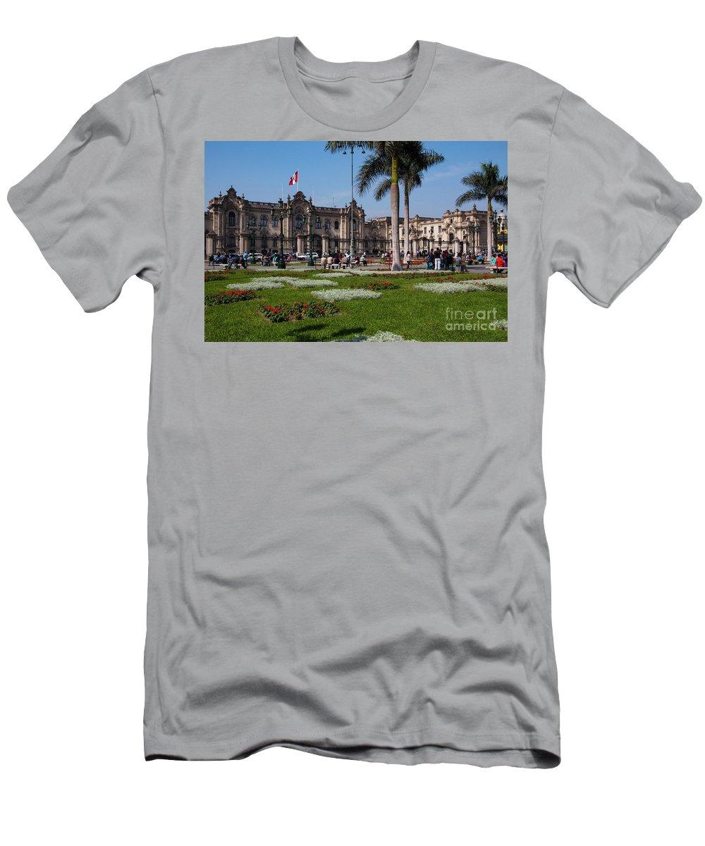 Palacio De Gobierno Del Perú Mayor Men's T-Shirt (Athletic Fit) featuring the photograph House Of Pizarro by Bob Phillips