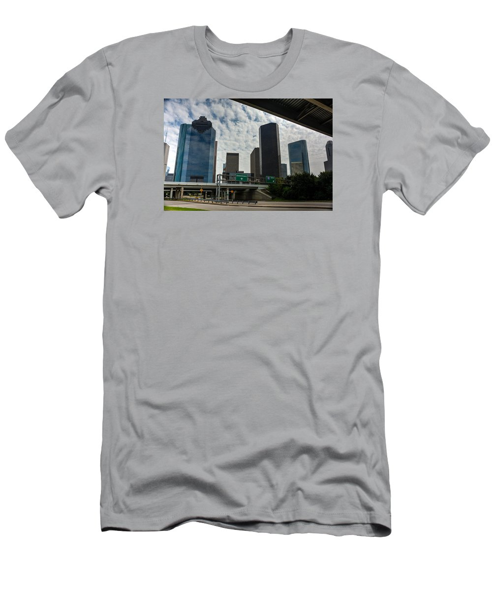 Houston Men's T-Shirt (Athletic Fit) featuring the photograph Houston Skyline by Joan Baker