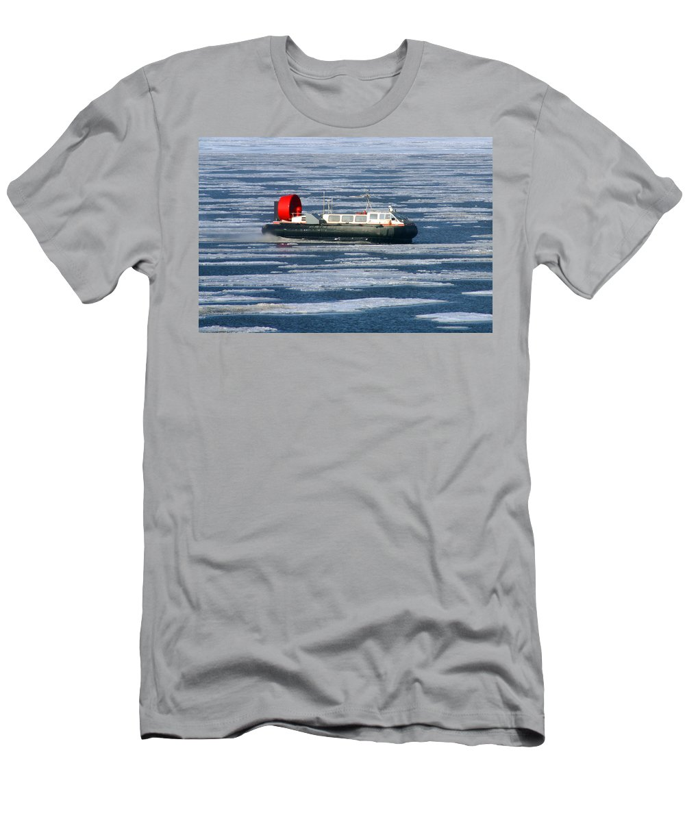 Arctic Ocean Men's T-Shirt (Athletic Fit) featuring the photograph Hovercraft On Frozen Artic Ocean by Anthony Jones
