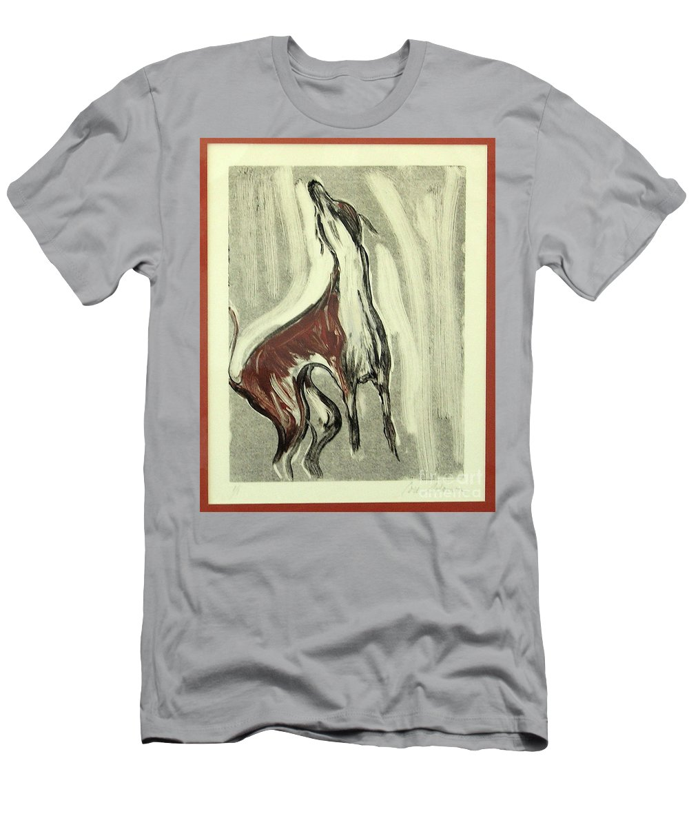 Monotype Men's T-Shirt (Athletic Fit) featuring the mixed media Howling For Joy by Cori Solomon