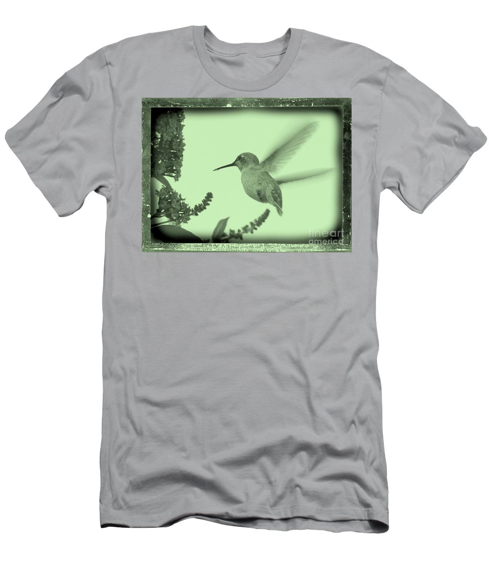 Men's T-Shirt (Athletic Fit) featuring the photograph Hummingbird With Old-fashioned Frame 5 by Carol Groenen