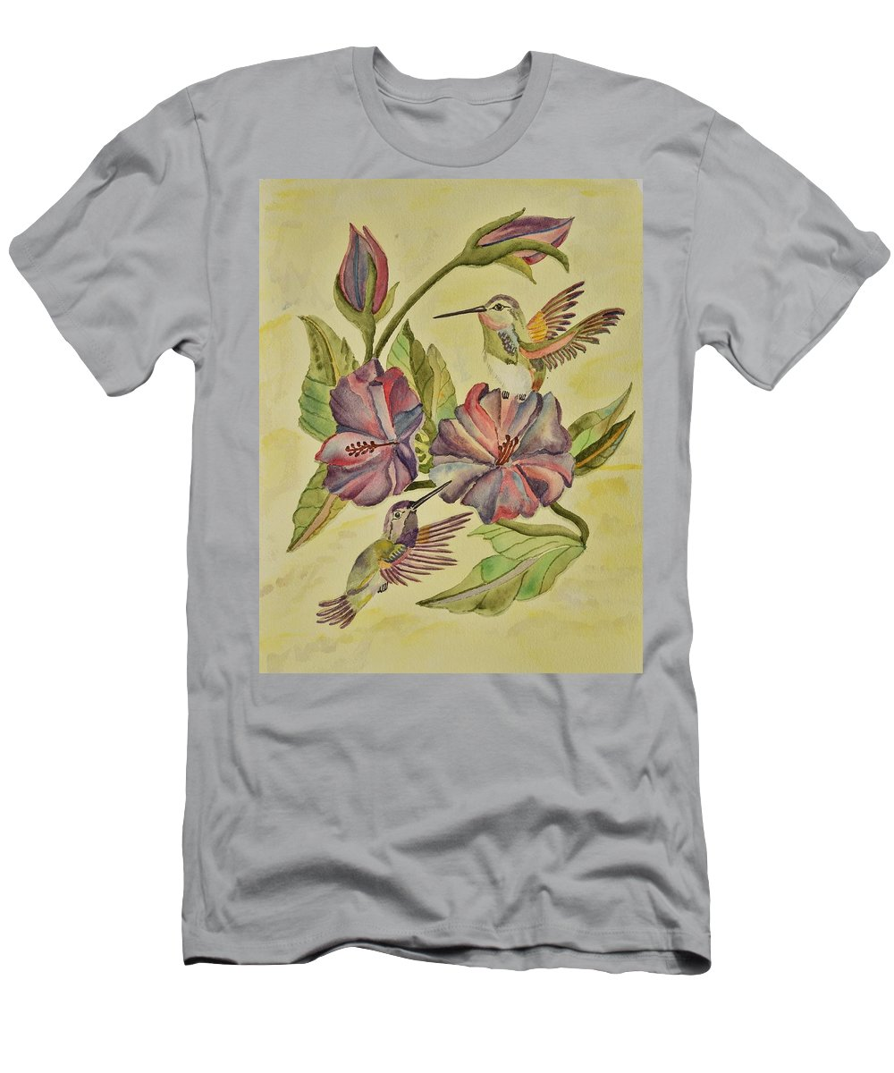Linda Brody Men's T-Shirt (Athletic Fit) featuring the painting Hummingbirds And Hibiscus by Linda Brody