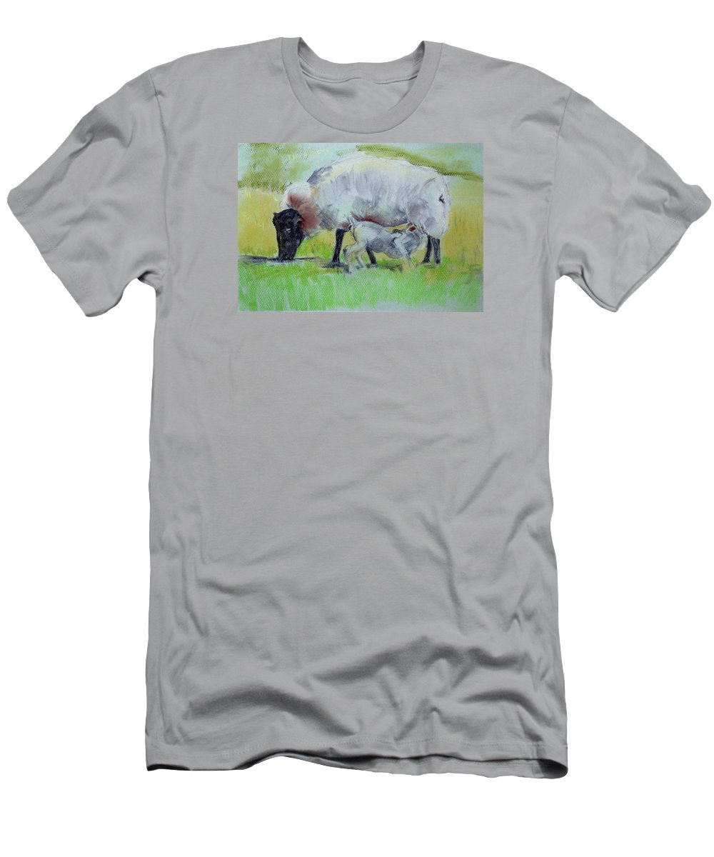 T-Shirt featuring the painting Hungry Lamb by Kathleen Barnes