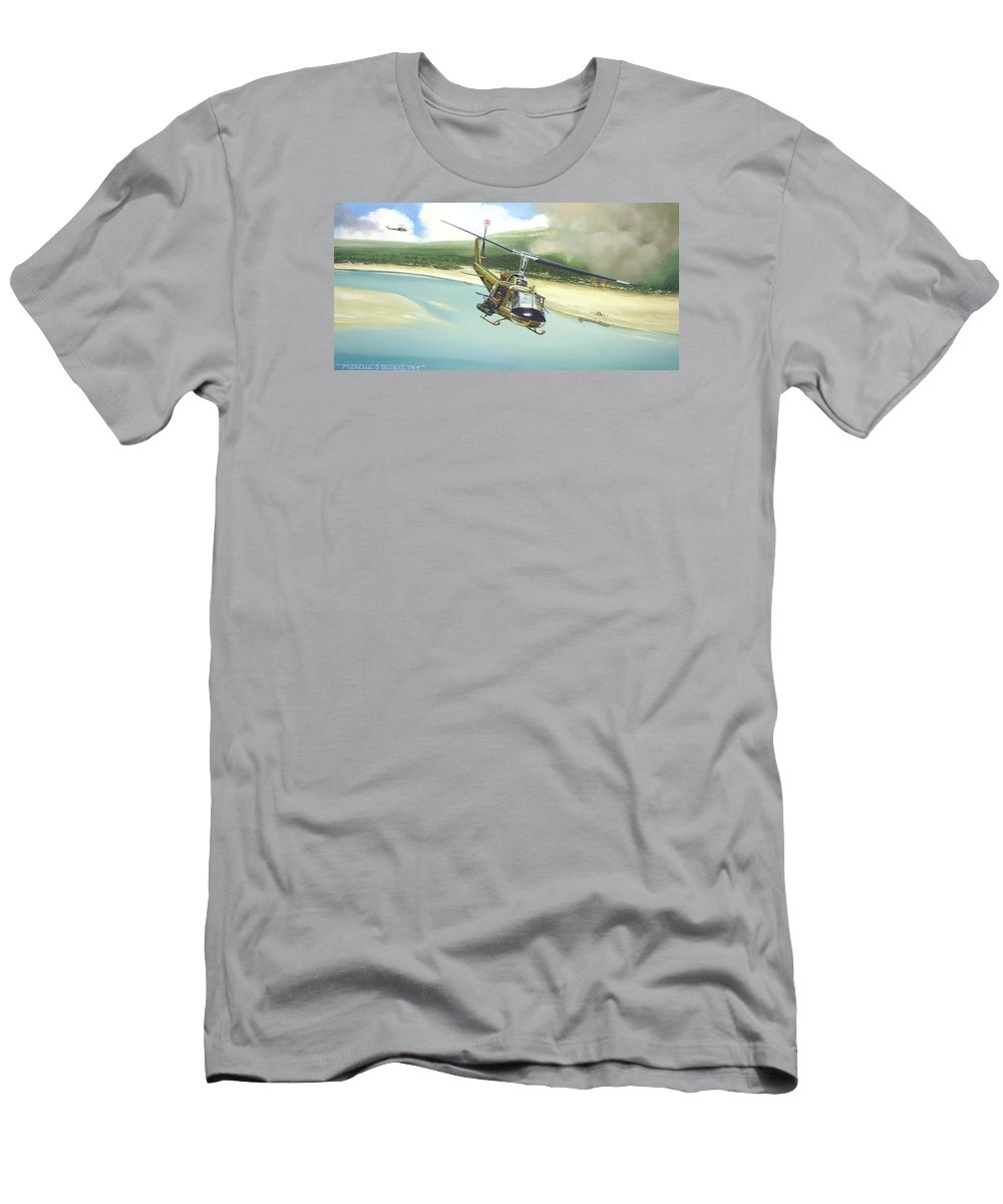 Military T-Shirt featuring the painting Hunter Hueys by Marc Stewart