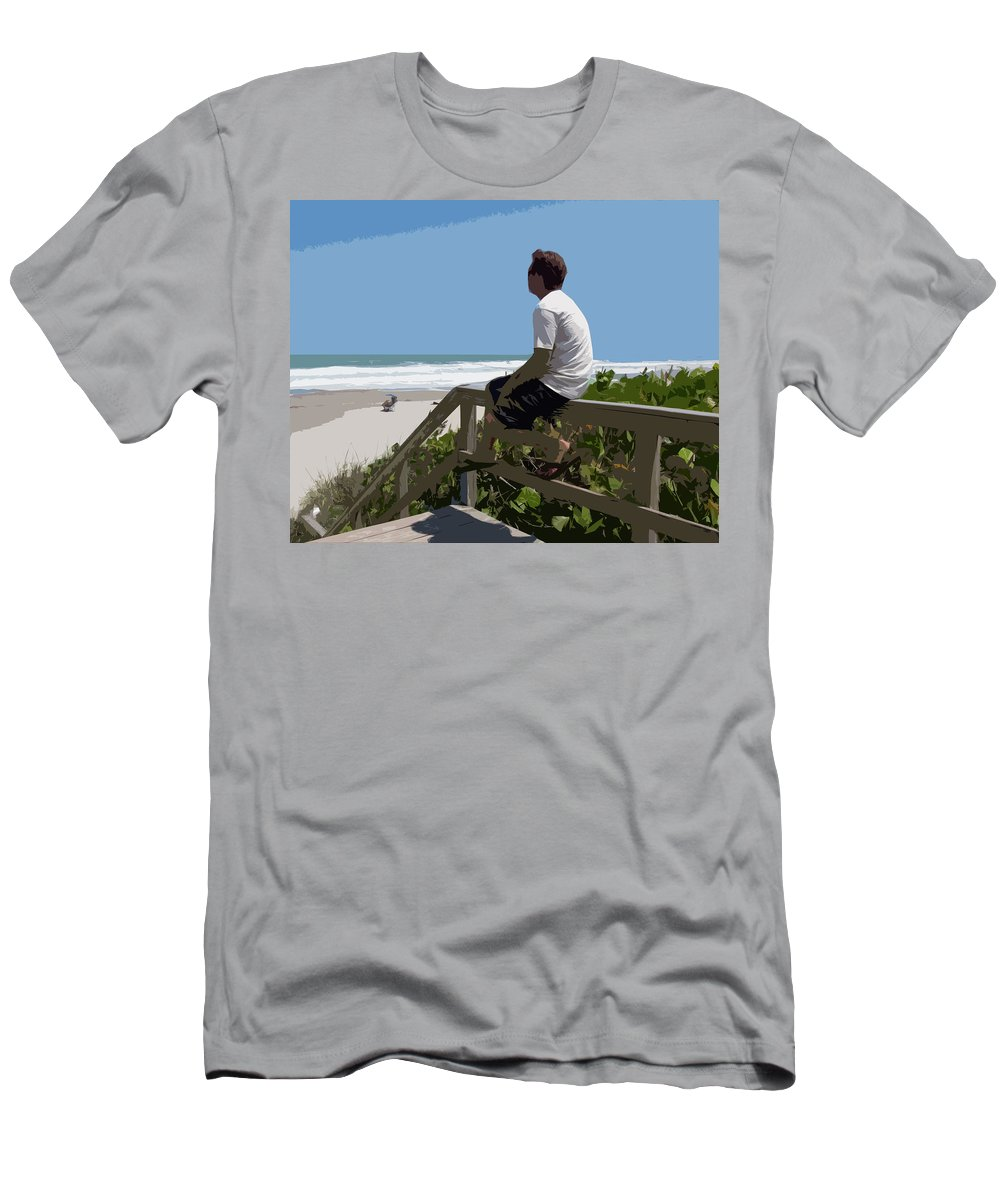 Hurricane Men's T-Shirt (Athletic Fit) featuring the painting Hurricane Surf In Florida by Allan Hughes