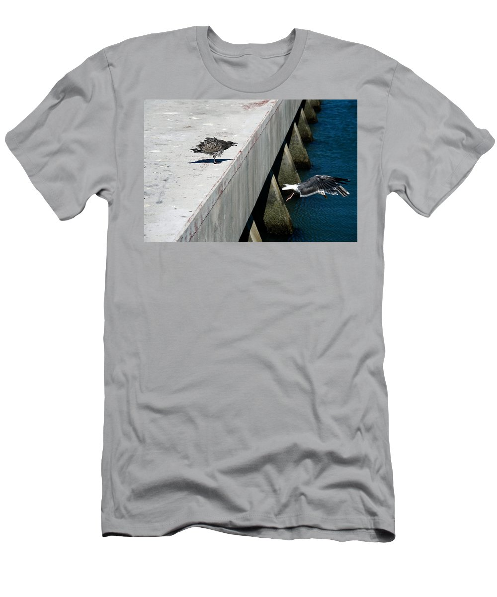 Birds Men's T-Shirt (Athletic Fit) featuring the photograph Hurry Back Mum by Aidan Moran