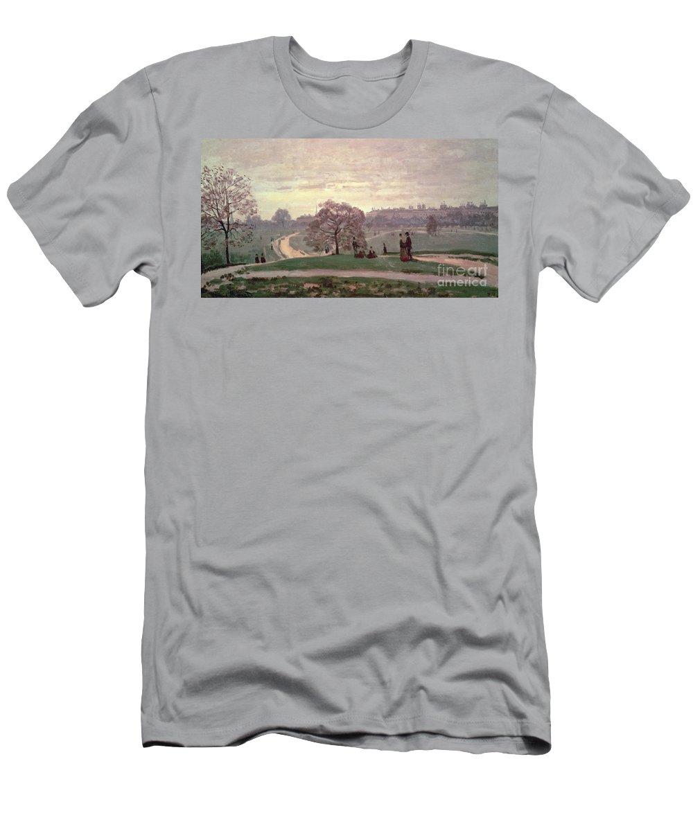 Hyde Park By Claude Monet (1840-1926) Men's T-Shirt (Athletic Fit) featuring the painting Hyde Park by Claude Monet