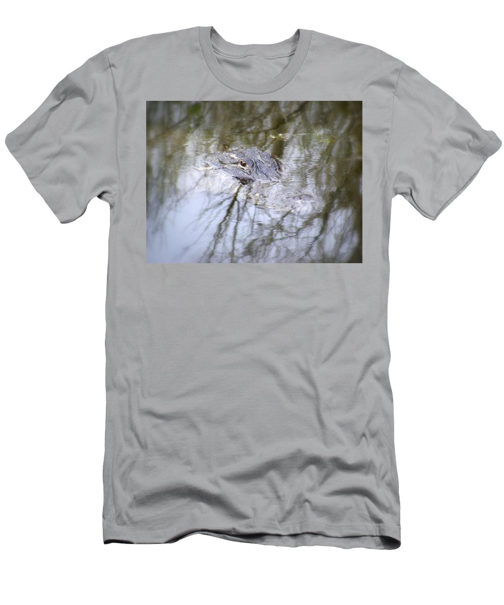 Alligator Men's T-Shirt (Athletic Fit) featuring the photograph I Am Watching by Ed Smith