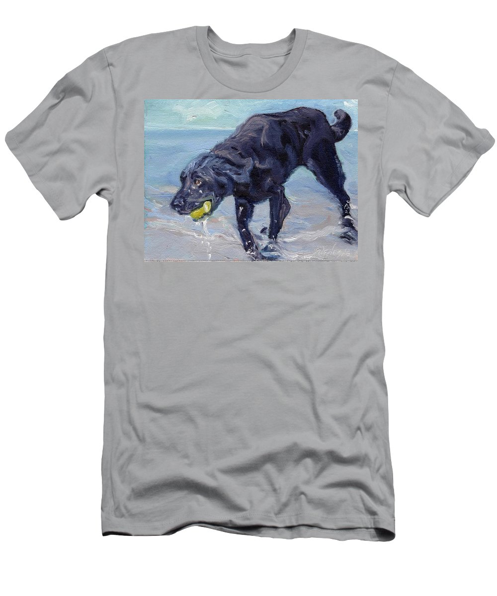 Black Lab Men's T-Shirt (Athletic Fit) featuring the painting I Got The Ball I Got The Ball by Sheila Wedegis