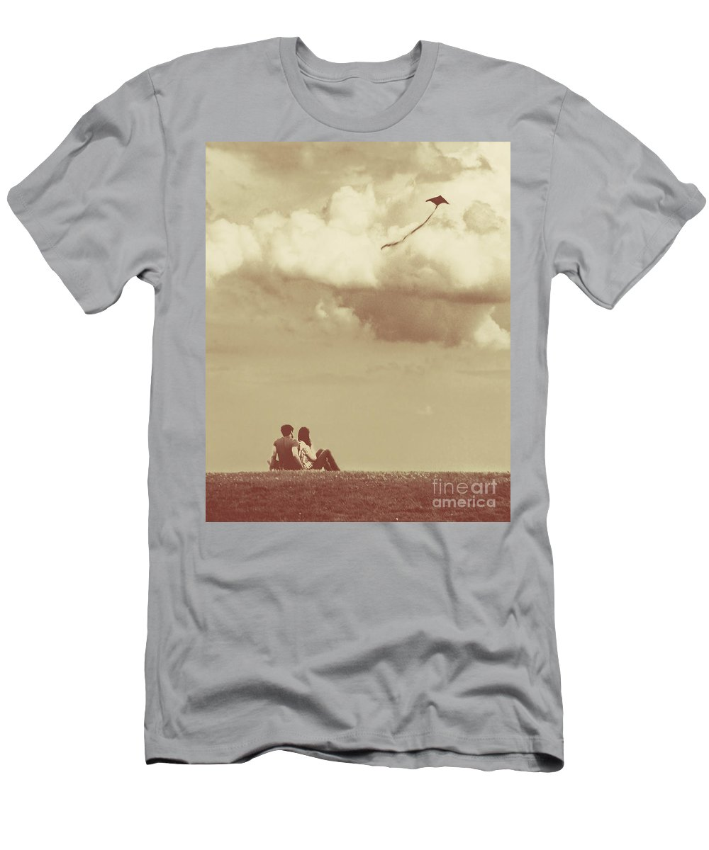Dipasquale Men's T-Shirt (Athletic Fit) featuring the photograph I Had A Dream I Could Fly From The Highest Swing by Dana DiPasquale