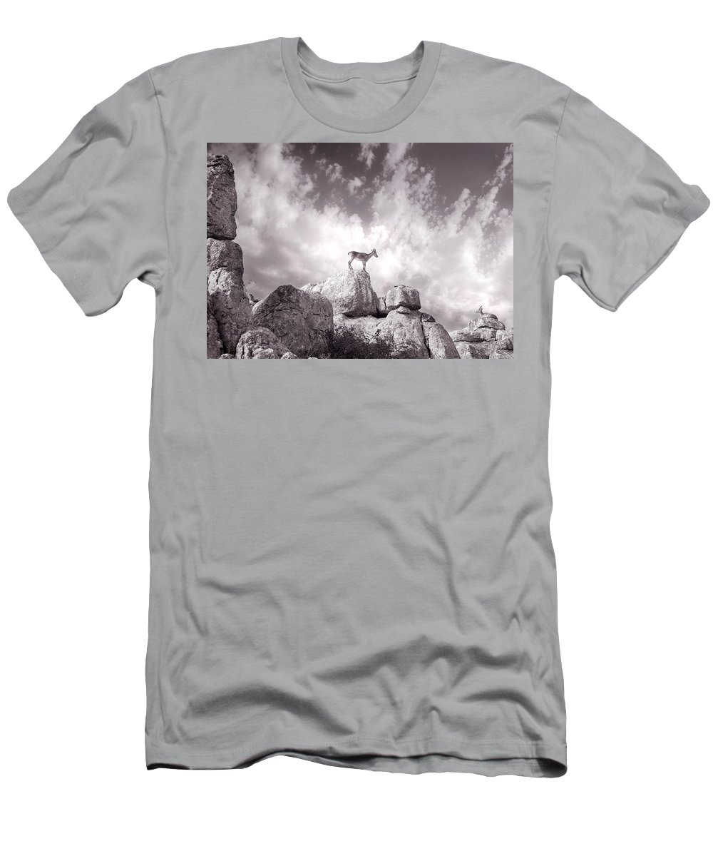 Ibex Men's T-Shirt (Athletic Fit) featuring the photograph Ibex -the Wild Mountain Goats In The El Torcal Mountains Spain by Mal Bray