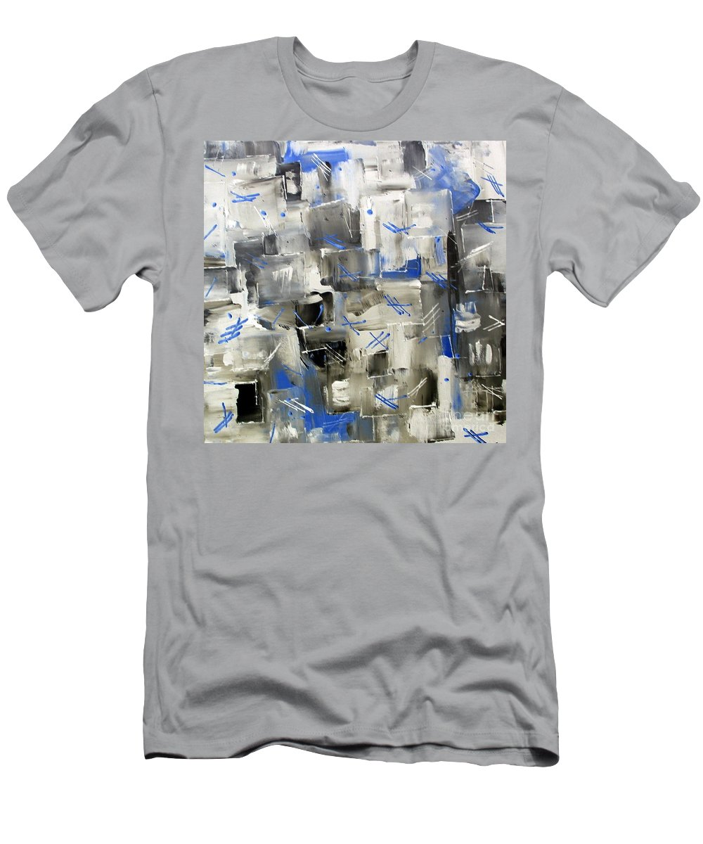Blue Ice Men's T-Shirt (Athletic Fit) featuring the painting Ice Blue by Dawn Hough Sebaugh