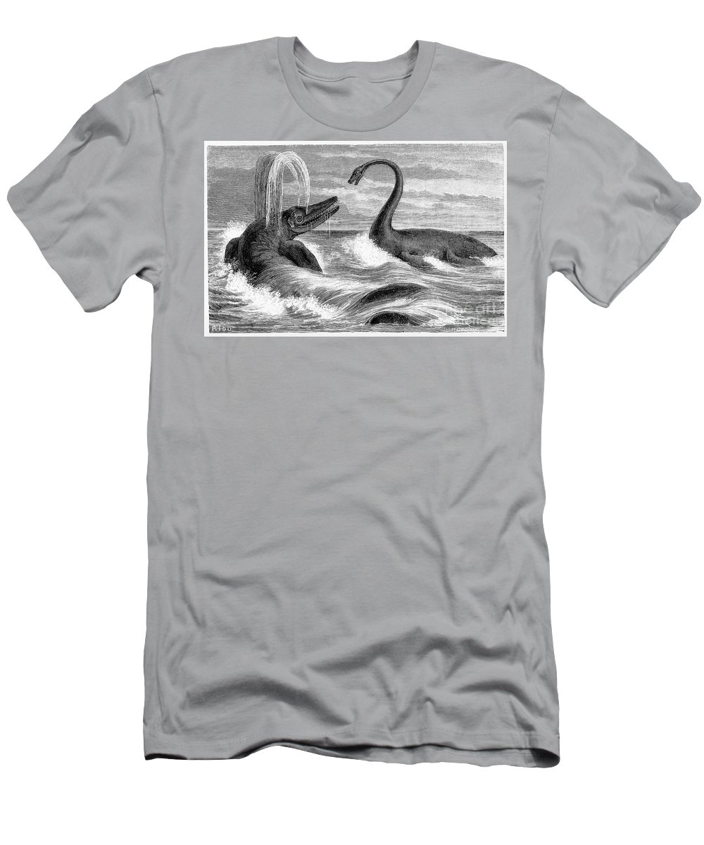 Historic Men's T-Shirt (Athletic Fit) featuring the photograph Ichthyosaurus And Plesiosaurus by Wellcome Images