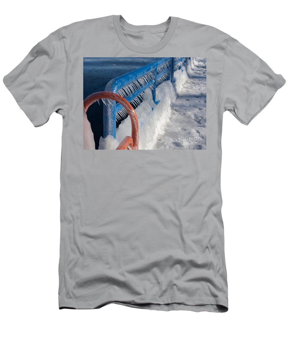 Icicles Men's T-Shirt (Athletic Fit) featuring the photograph Icy Aftermath by Ann Horn