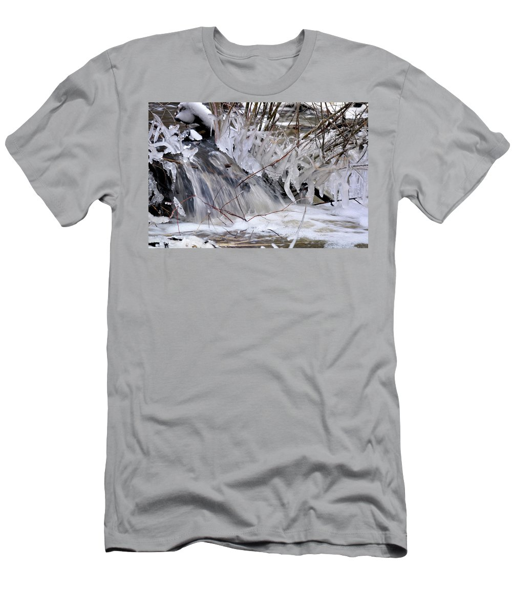 River Men's T-Shirt (Athletic Fit) featuring the photograph Icy Spring by Ron Cline