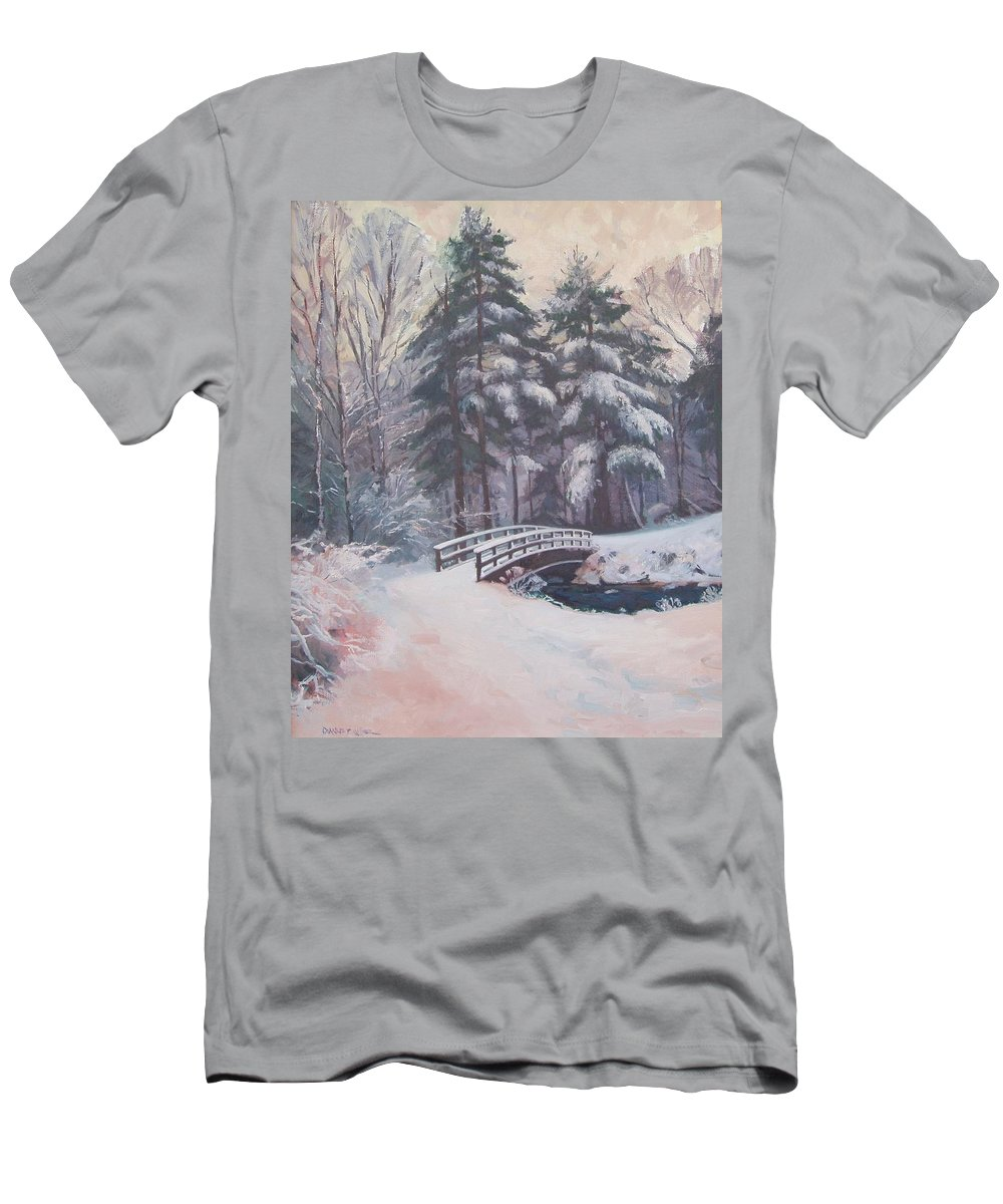 Landscape Men's T-Shirt (Athletic Fit) featuring the painting Icy Stream by Dianne Panarelli Miller