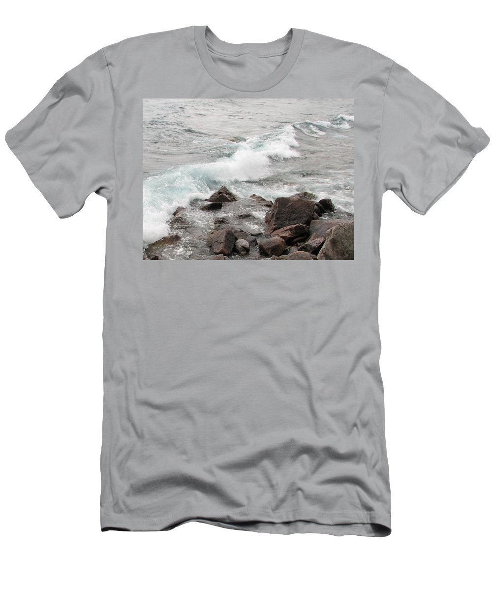 Wave Men's T-Shirt (Athletic Fit) featuring the photograph Icy Waves by Kelly Mezzapelle