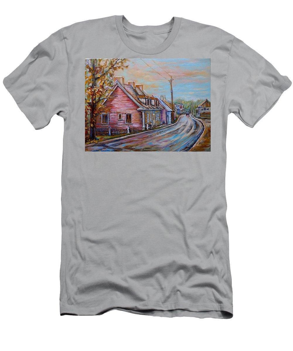 Ile D'orleans Men's T-Shirt (Athletic Fit) featuring the painting Iles D'orleans Quebec Village Scene by Carole Spandau