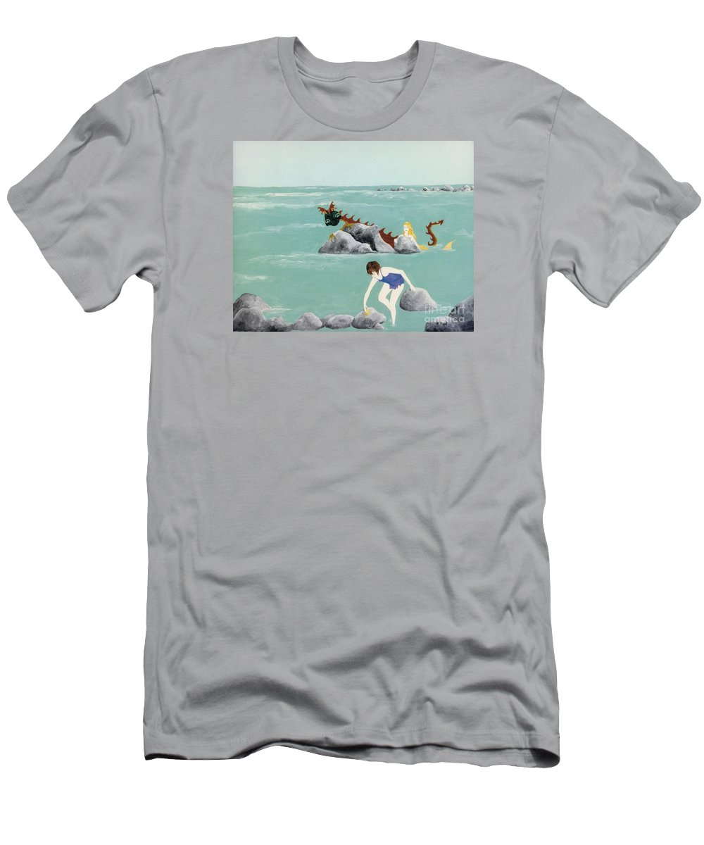 Children Men's T-Shirt (Athletic Fit) featuring the painting Imagination Of One by Reb Frost