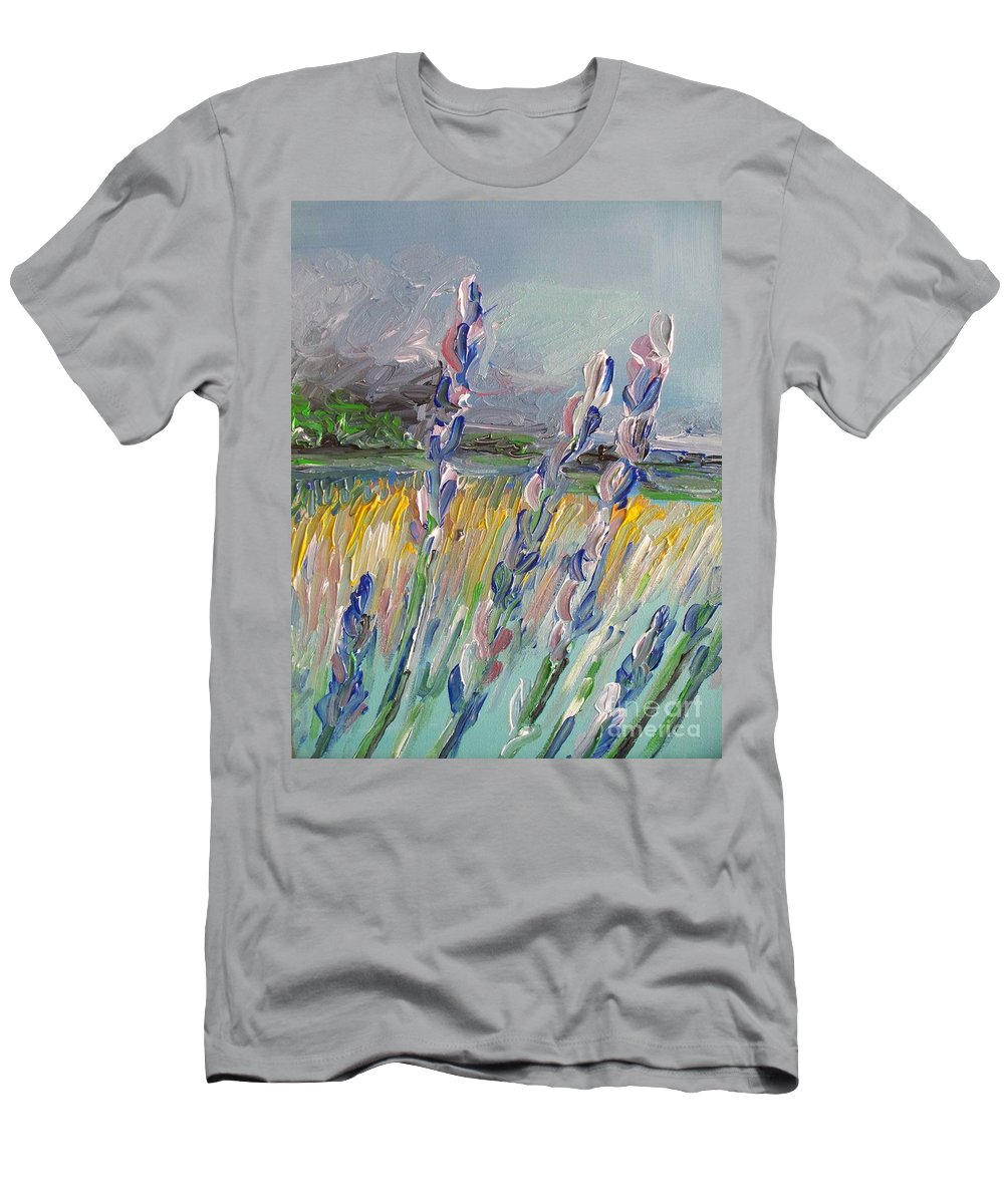 Abstract Men's T-Shirt (Athletic Fit) featuring the painting Impressionism Fantasy Field by Eric Schiabor
