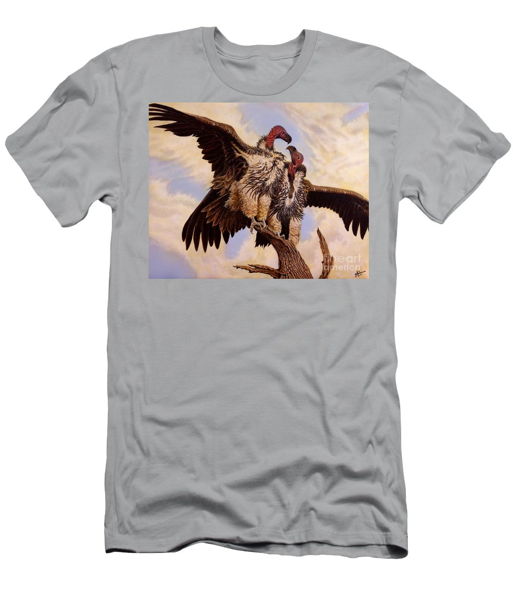 Vulture Men's T-Shirt (Athletic Fit) featuring the painting In The Eye Of The Beholder by Greg and Linda Halom