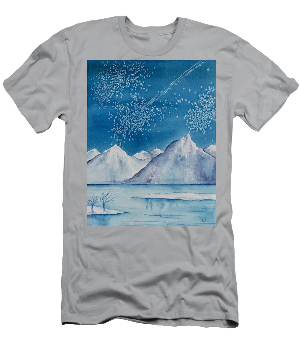 Watercol.or Scenery Landscape Fantasy Ice Snow Cold Winter Mountains Frozen Men's T-Shirt (Athletic Fit) featuring the painting In The Far North by Brenda Owen