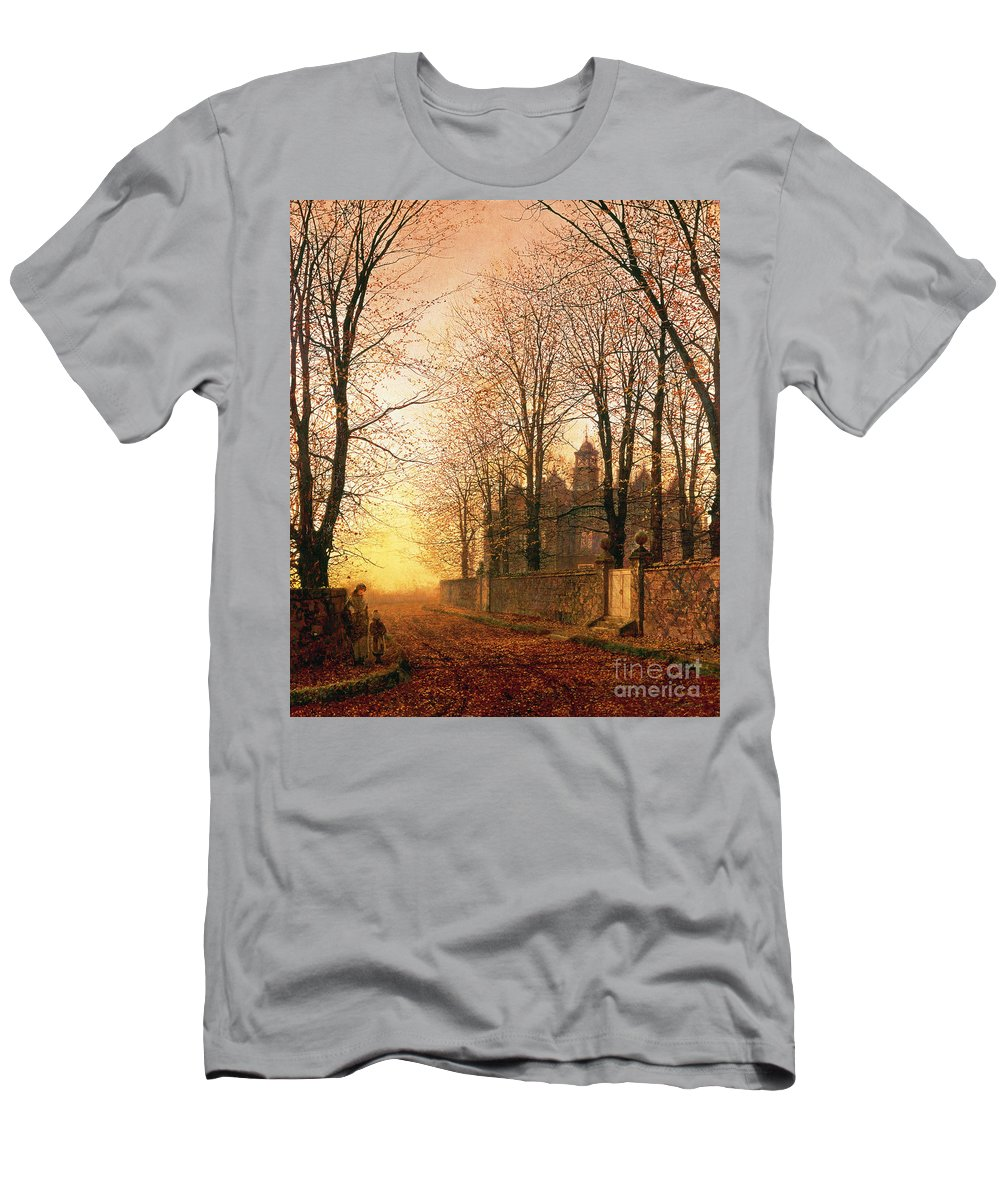 In The Golden Olden Time Men's T-Shirt (Athletic Fit) featuring the painting In The Golden Olden Time by John Atkinson Grimshaw