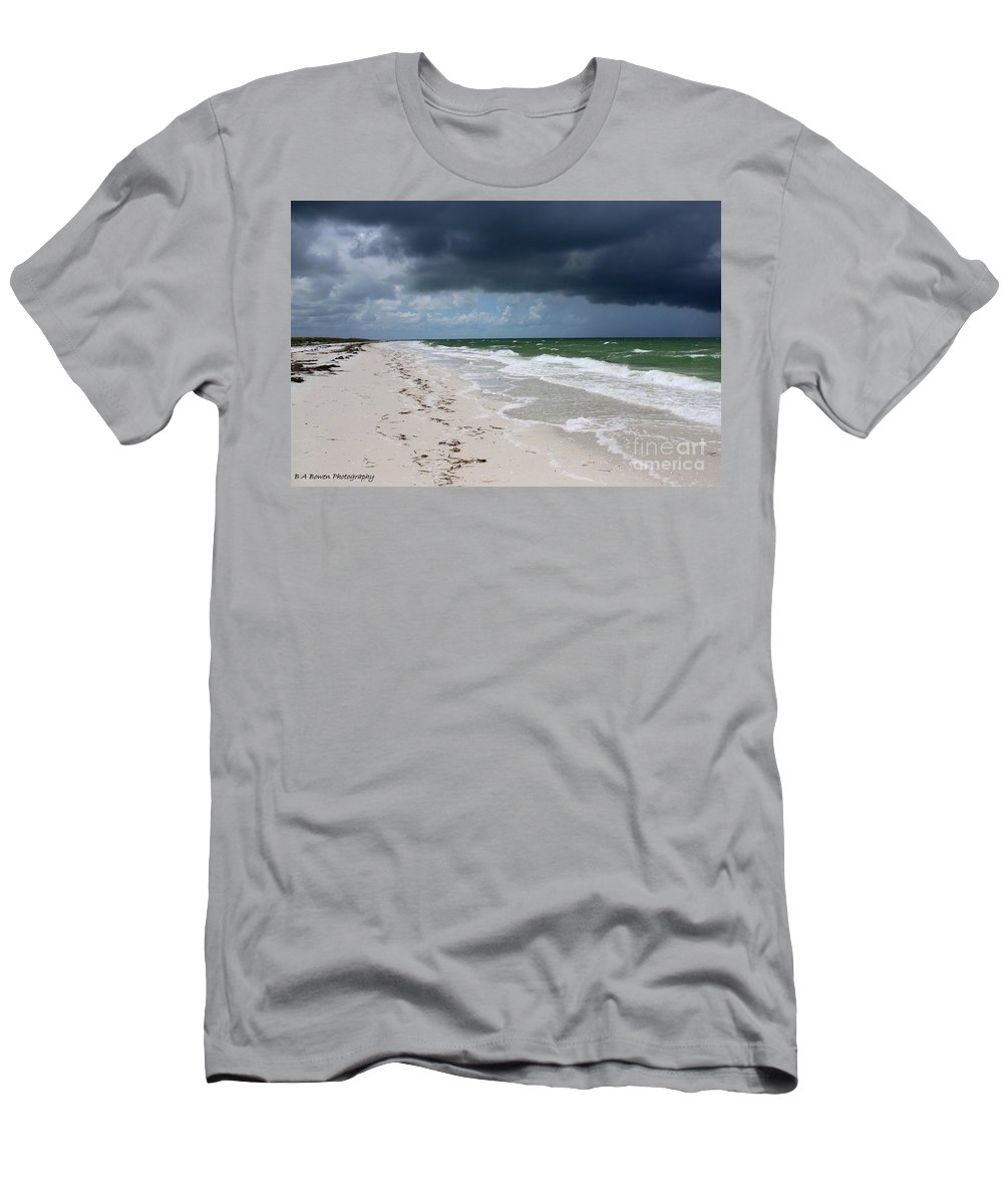 Beach Men's T-Shirt (Athletic Fit) featuring the photograph Incoming Storm by Barbara Bowen