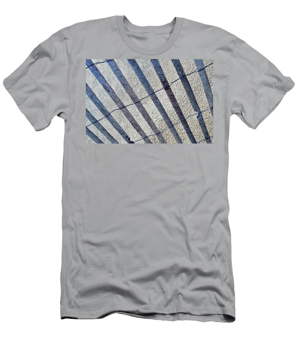 Indiana Dunes National Lakeshore Men's T-Shirt (Athletic Fit) featuring the photograph Indiana Dunes Beach Fence by Kyle Hanson