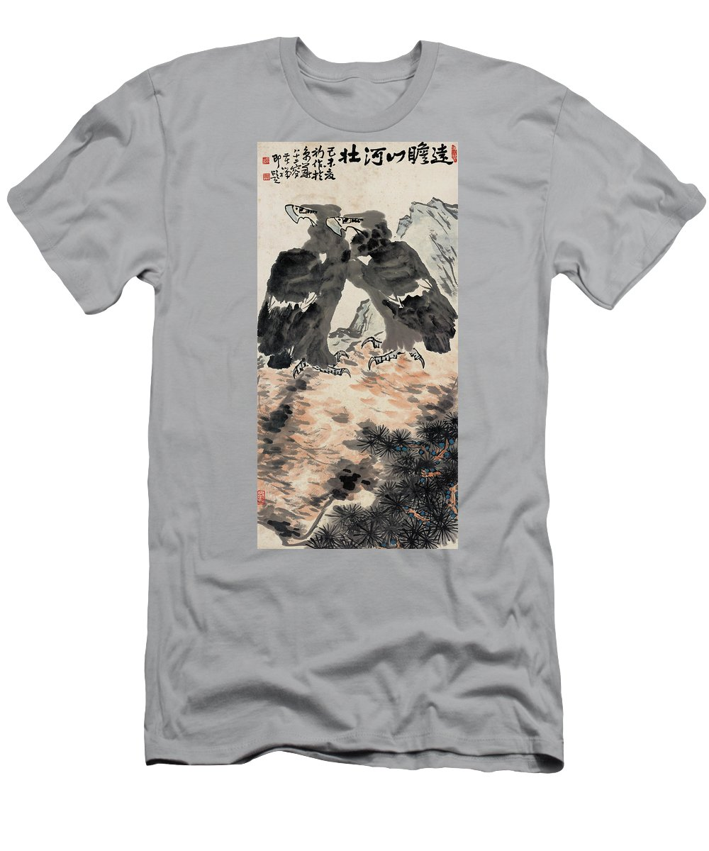 Li Kuchan Men's T-Shirt (Athletic Fit) featuring the painting Ink Painting Eagle by Li Kuchan