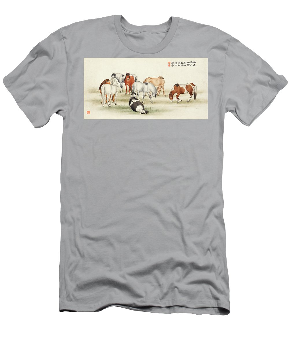 Ma Jin Men's T-Shirt (Athletic Fit) featuring the painting Ink Painting Stud Of Horses by Ma Jin