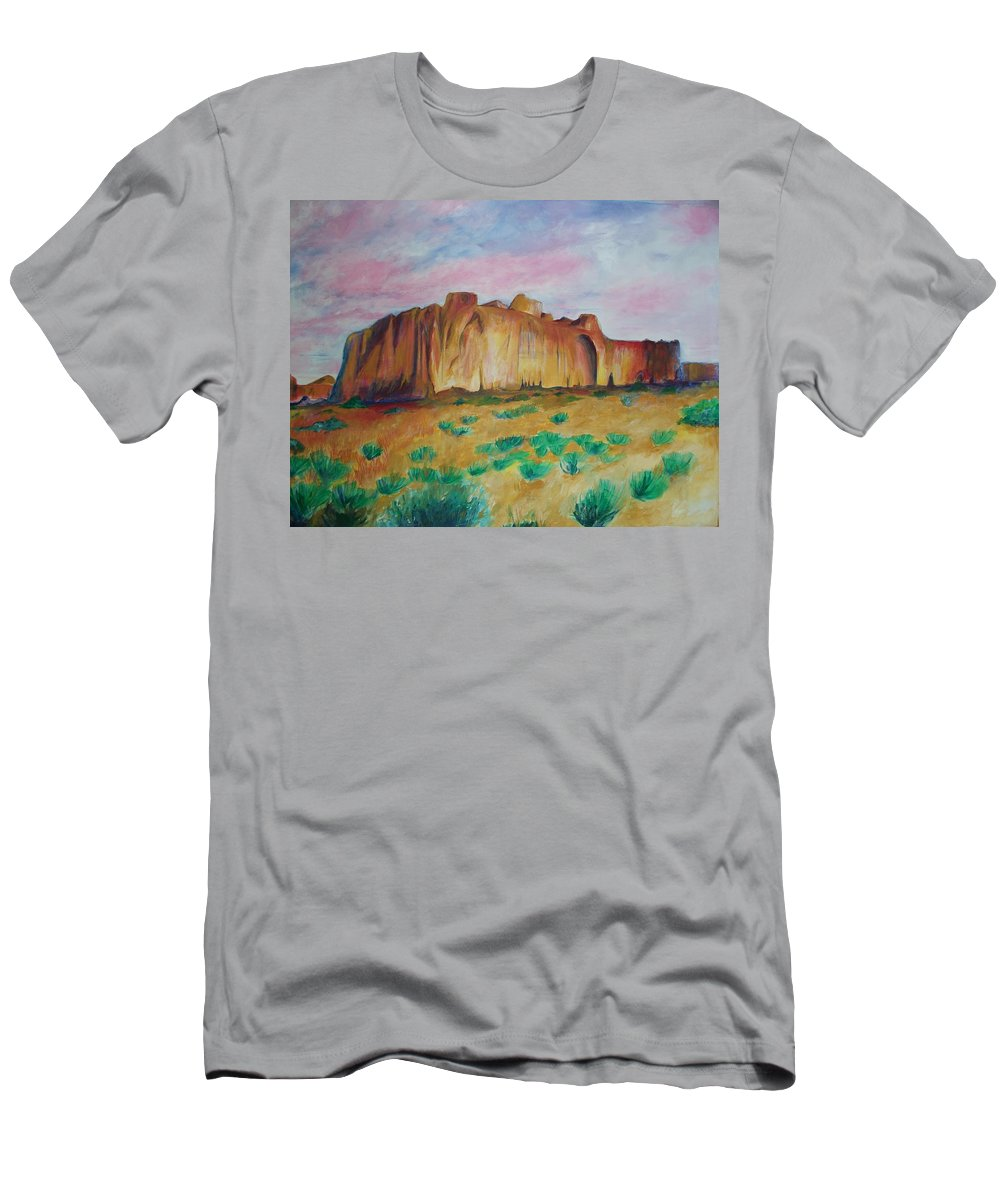 Western Landscapes Men's T-Shirt (Athletic Fit) featuring the painting Inscription Rock by Eric Schiabor