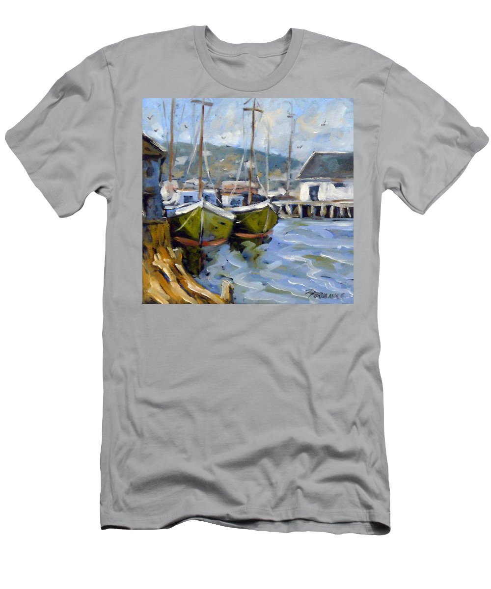Fishing Boats; Seascape Men's T-Shirt (Athletic Fit) featuring the painting Inspired By E Gruppe by Richard T Pranke