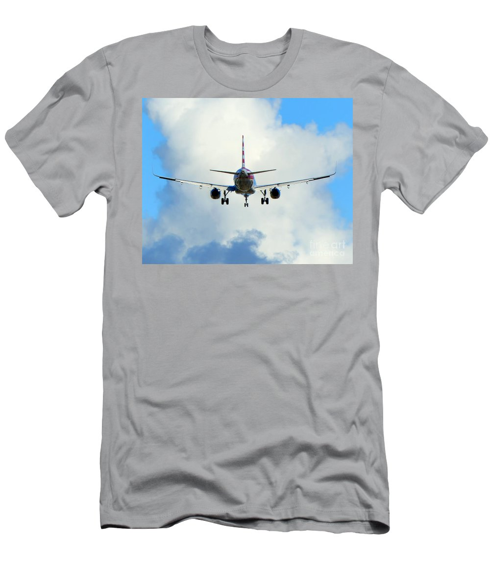 Jet Airliner Men's T-Shirt (Athletic Fit) featuring the photograph Into The Clouds by Carlos Amaro