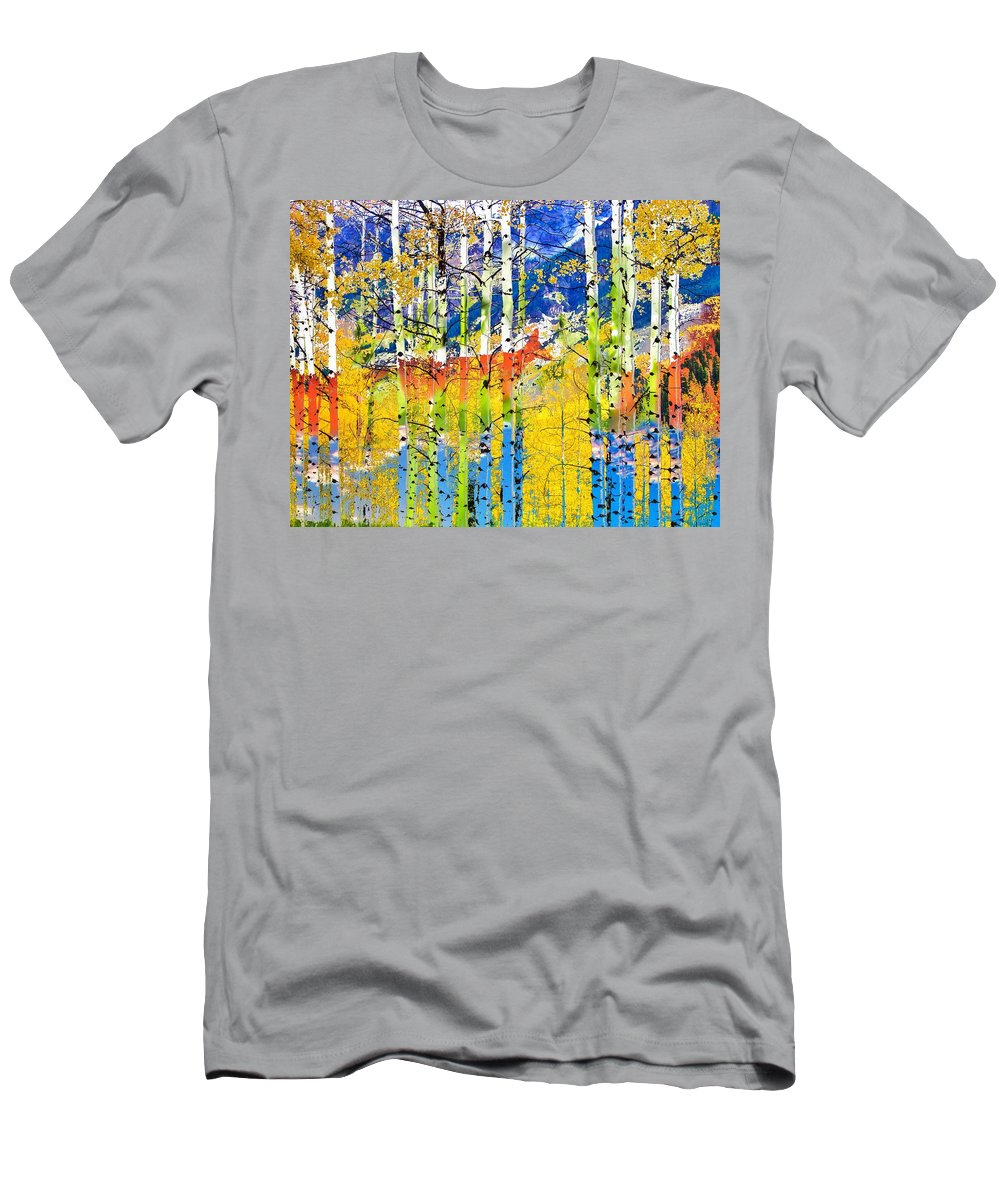 Deer Men's T-Shirt (Athletic Fit) featuring the photograph Into The Woods by LeAnne Perry