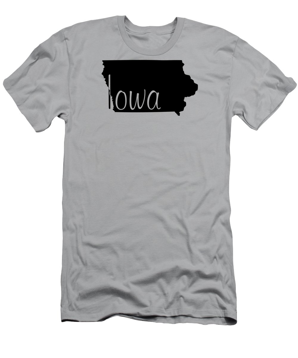Iowa Men's T-Shirt (Athletic Fit) featuring the digital art Iowa In Black by Custom Home Fashions