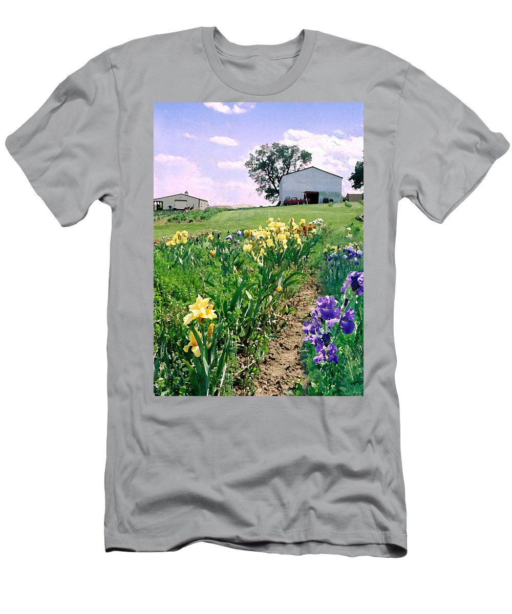 Landscape Painting Men's T-Shirt (Athletic Fit) featuring the photograph Iris Farm by Steve Karol